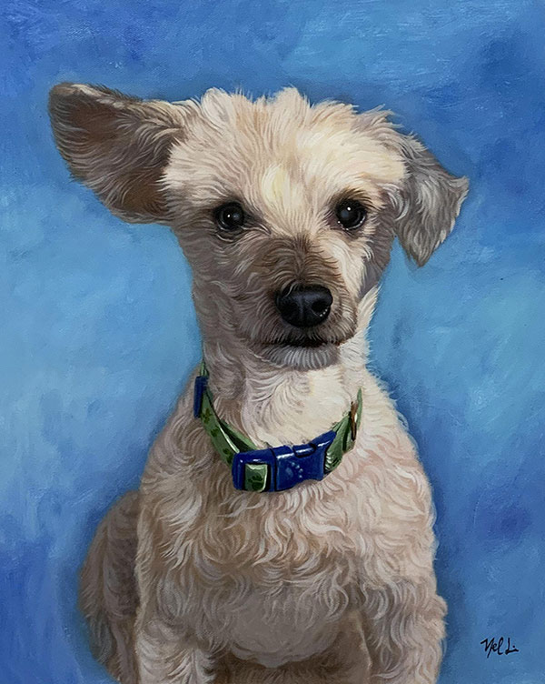Beautiful oil artwork of a dog with a blue background