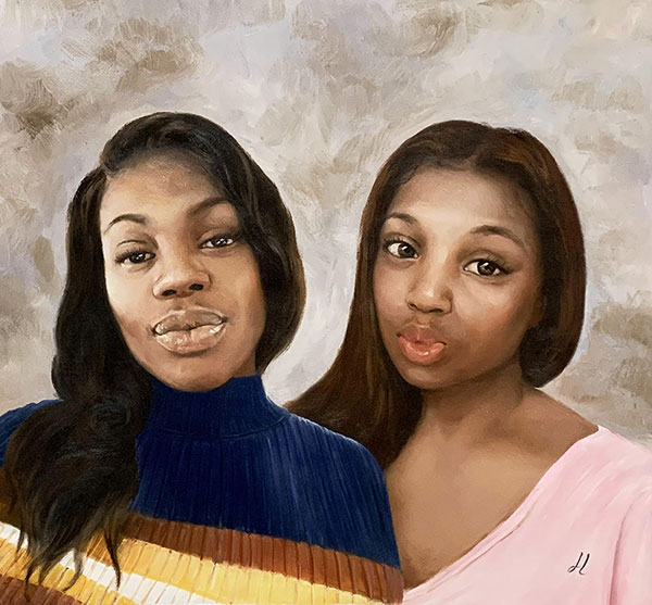 Beautiful oil painting of friends