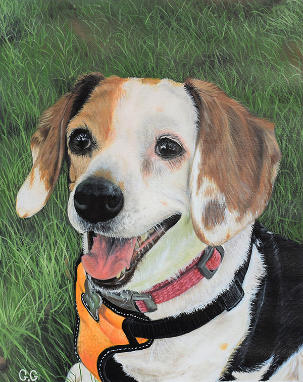 an oil painting of a mutt with an yellow harness