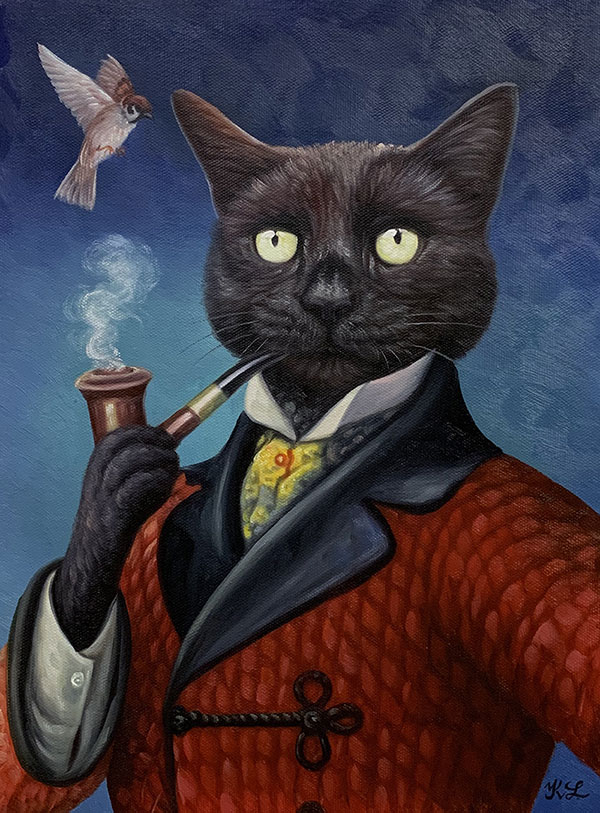 oil painting of a black cat smoking from a pipe