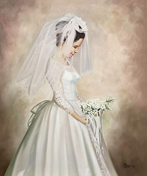 Gorgeous vintage oil painting of a bride