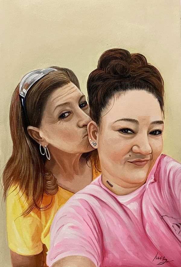 Custom oil painting of two friends with a solid background