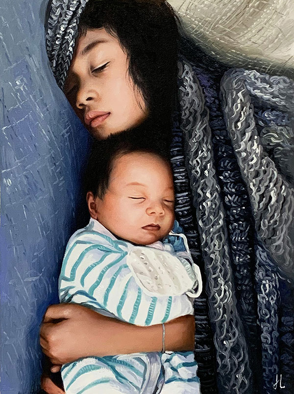 Gorgeous oil painting of a mother holding a baby