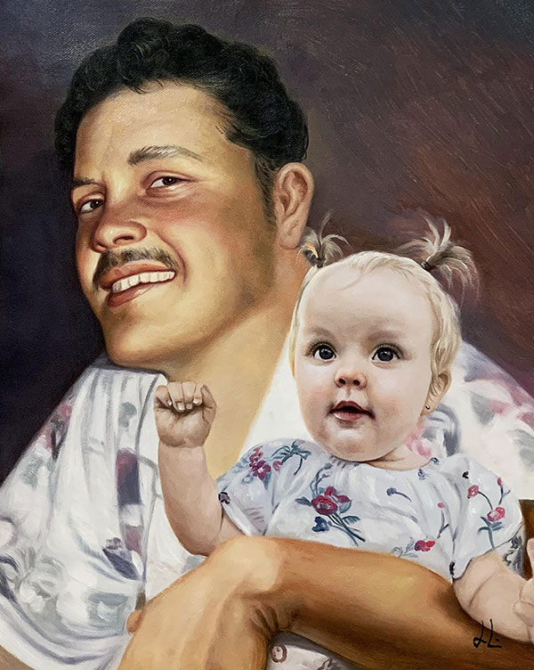 Custom oil artwork of a man holding a baby