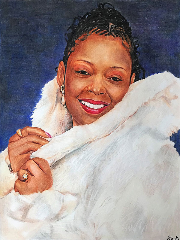 custom colored pencil drawing of a woman with a furry coat