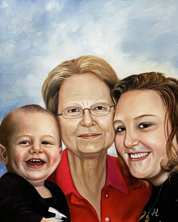 Personalized acrylic oil painting of a family