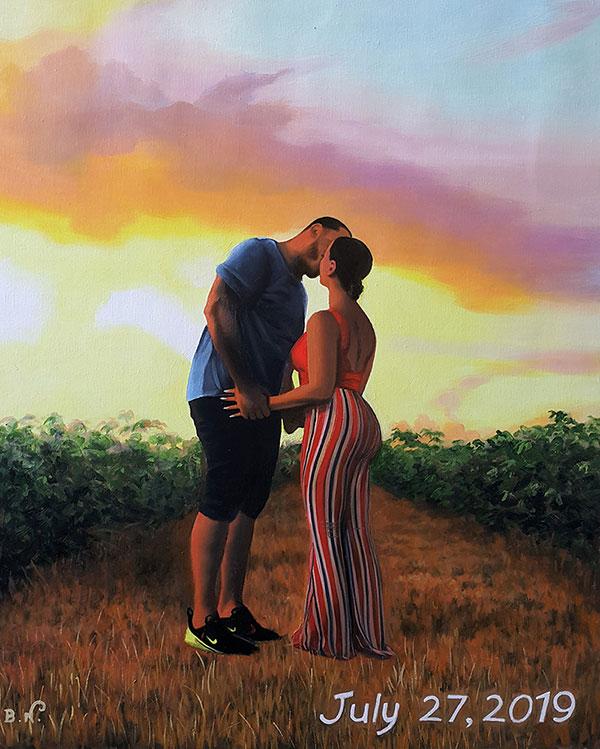 custom oil portrait of couple kissing at sunset