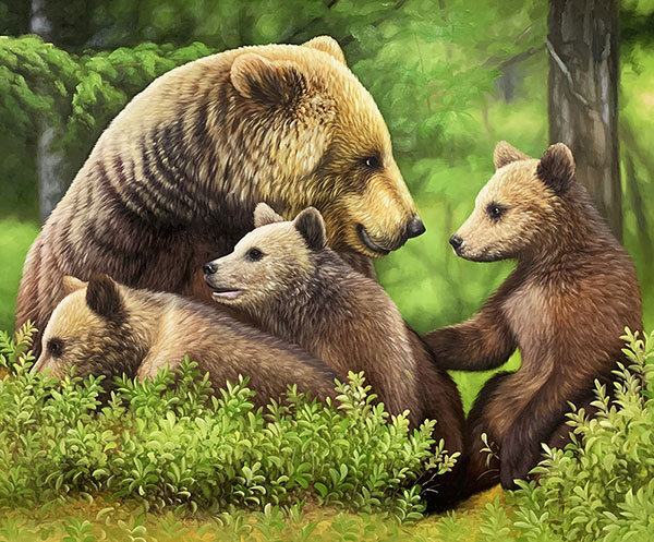 picture to painting of family of bear and cubs