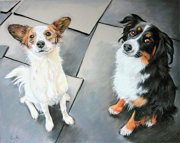 two cute dogs painted in pastel
