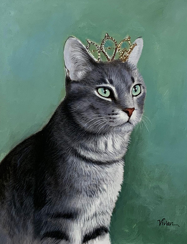 Beautiful oil painting of a cat with a crown