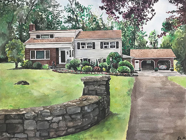 custom watercolor painting of a house with garage open
