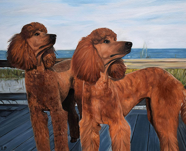 Ölportrait von zwei Hunden