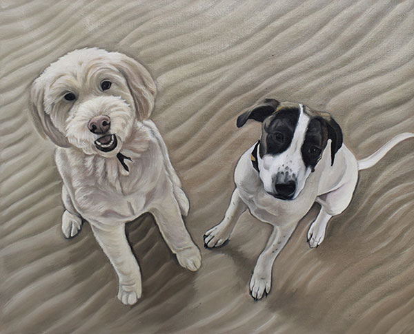 an oil painting of two dogs in sand