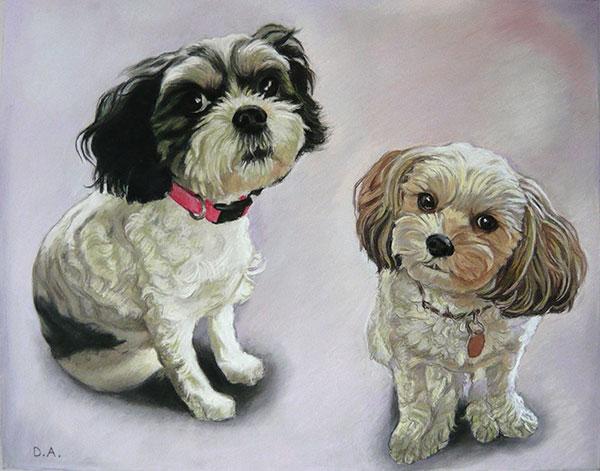 two dogs pastel portrait