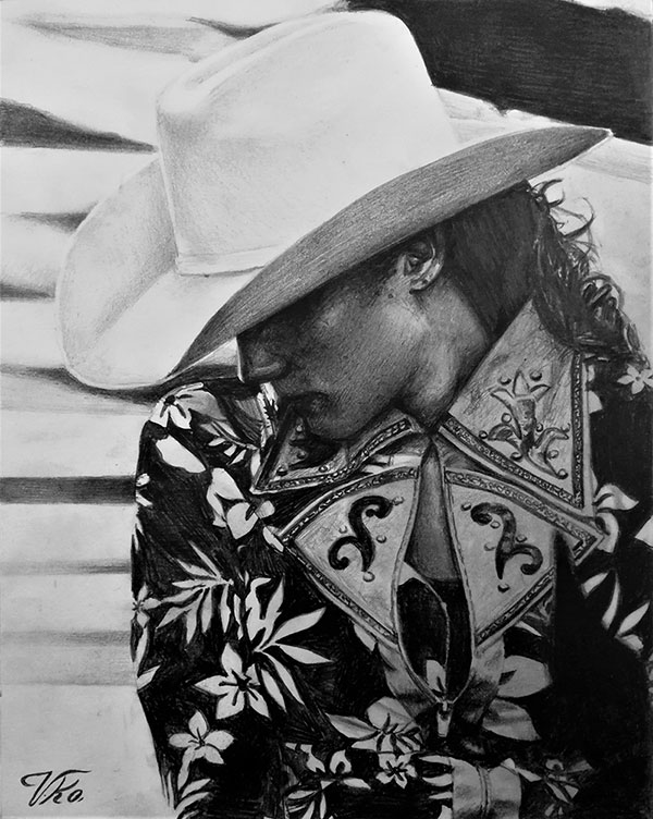 Beautiful black pencil drawing of an adult with cowboy hat