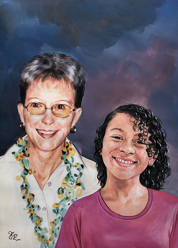 Beautiful pastel painting of a mother and a daughter