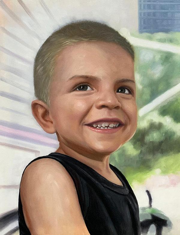 Gorgeous close up oil portrait of a little boy