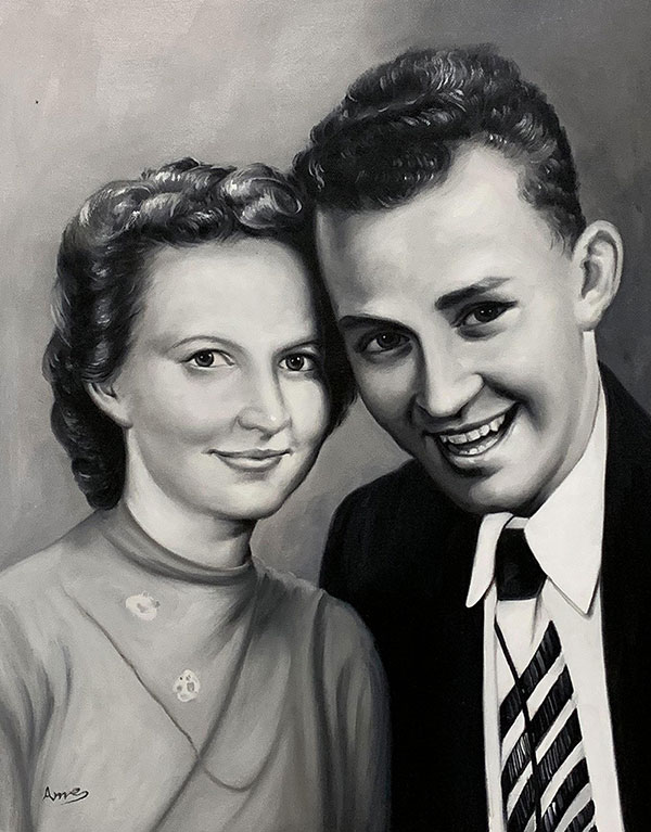 Beautiful vintage oil painting of a smiling couple