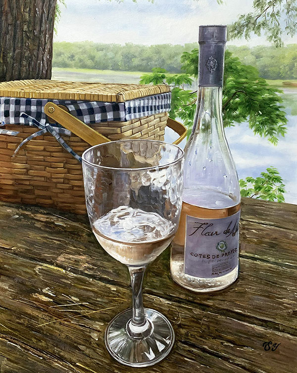 Beautiful handmade oil painting of a bottle of wine