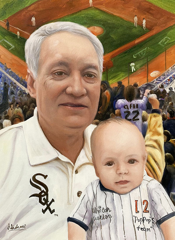 Personalized acrylic painting of a man and a baby