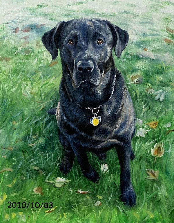 Custom acrylic painting of a black dog