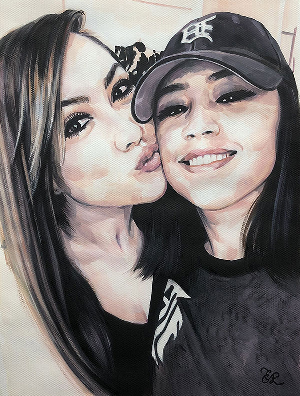 Beautiful pastel painting of two friends