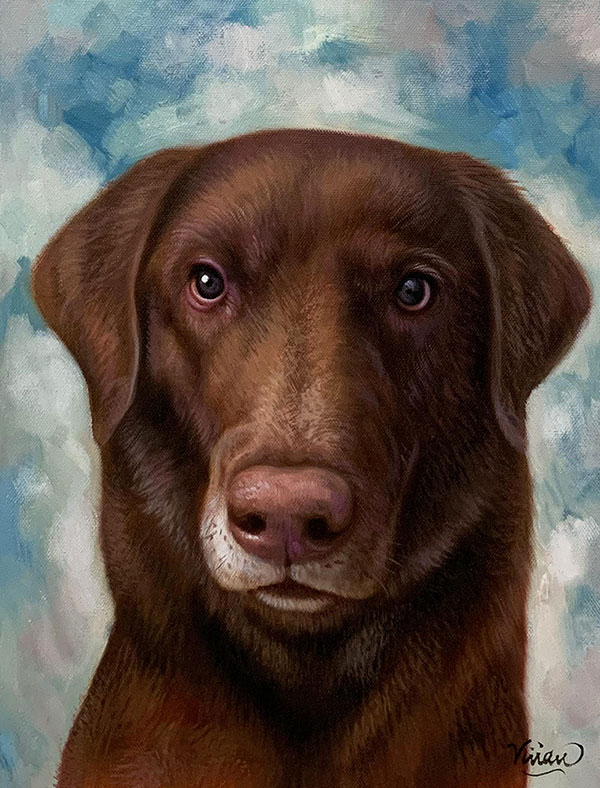 Close up oil artwork of a dog