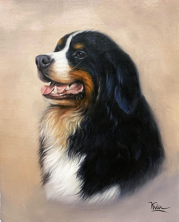 Custom oil artwork of a dog with a solid background