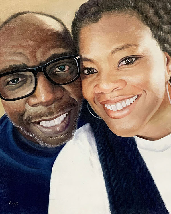 Close up oil painting of a smiling couple