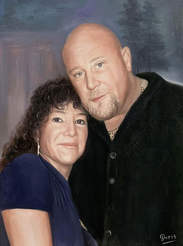 Personalized oil painting of a happy couple