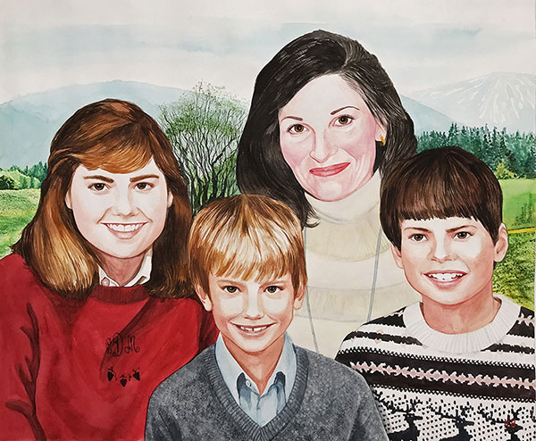 Beautiful watercolor painting of a family