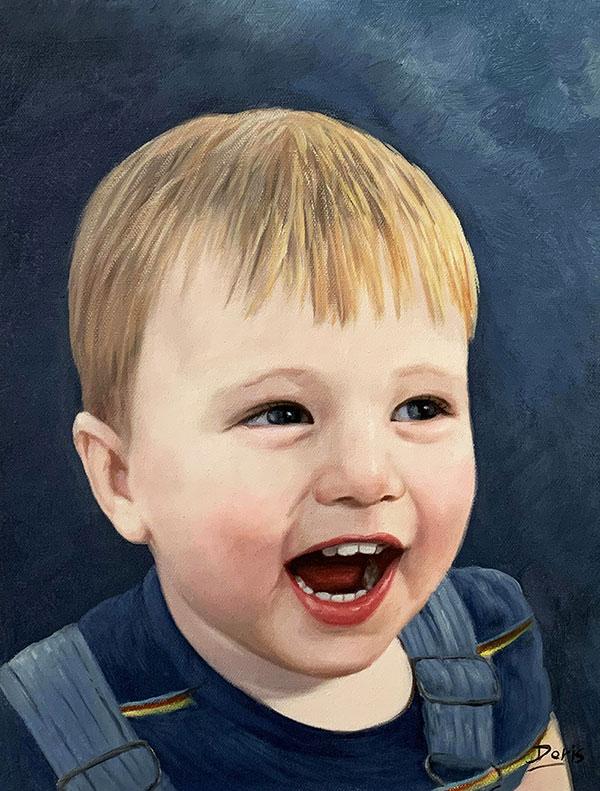 ritratto di bambino olio da fotografia