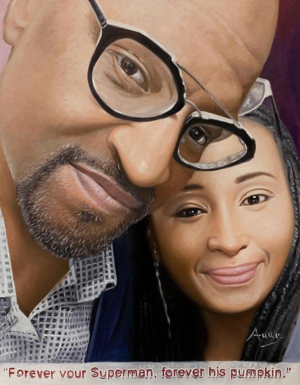 Beautiful oil portrait of a loving couple