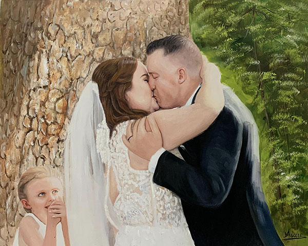 Gorgeous handmade oil artwork of a kissing couple