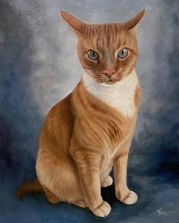 Custom handmade oil painting of a cat