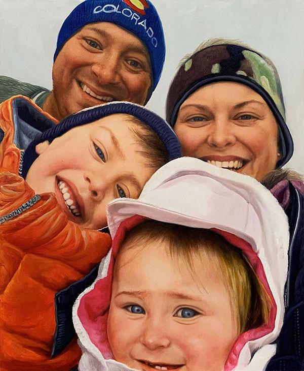Beautiful handmade oil artwork of parents with children