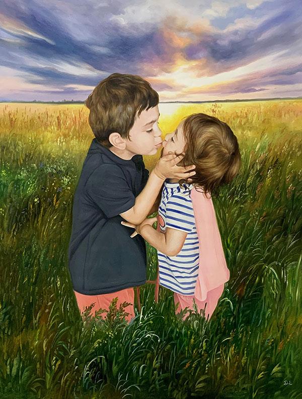 Beautiful handmade oil painting of two children