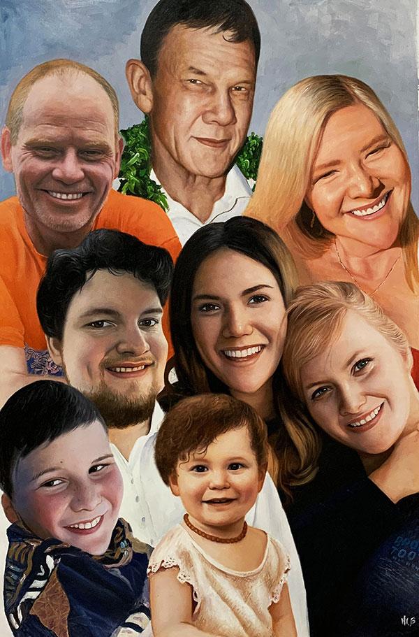 Custom oil family portrait of eight people