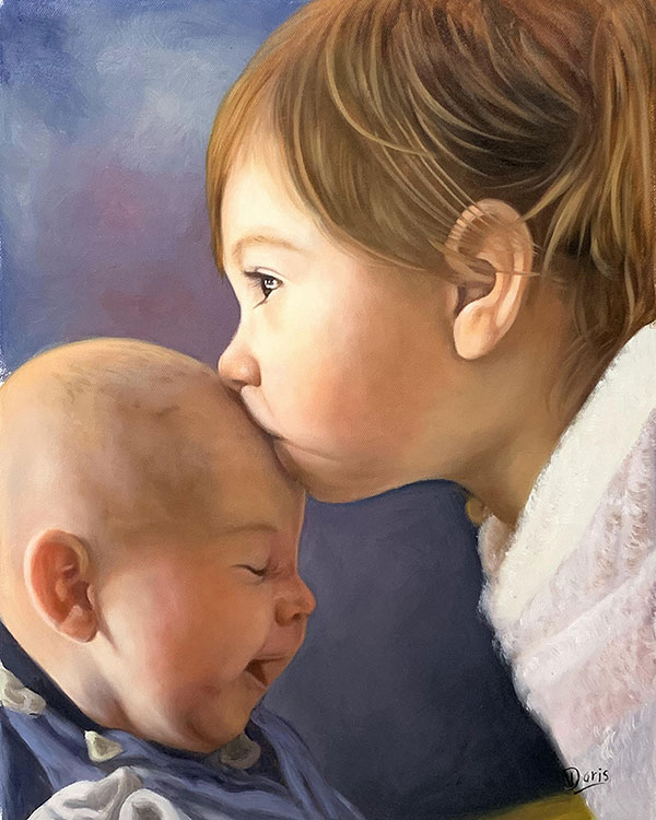Gorgeous oil painting of a baby girl kissing her brother
