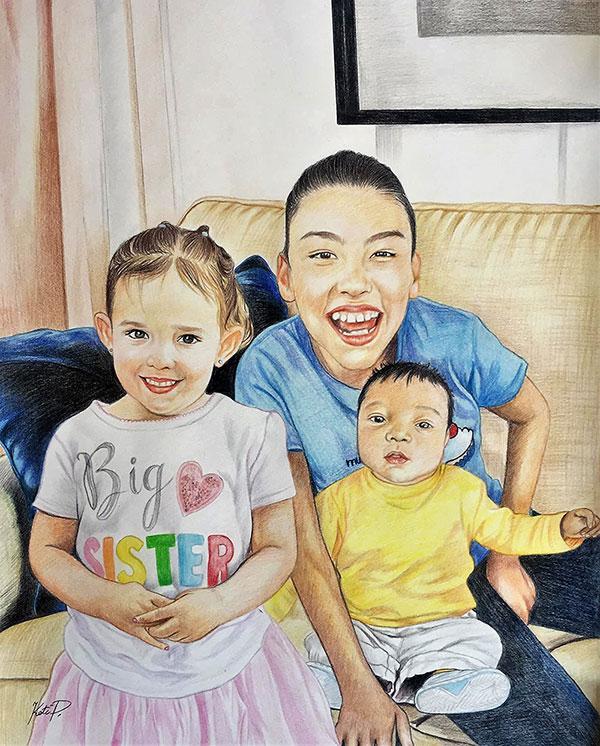Custom color pencil painting of three children