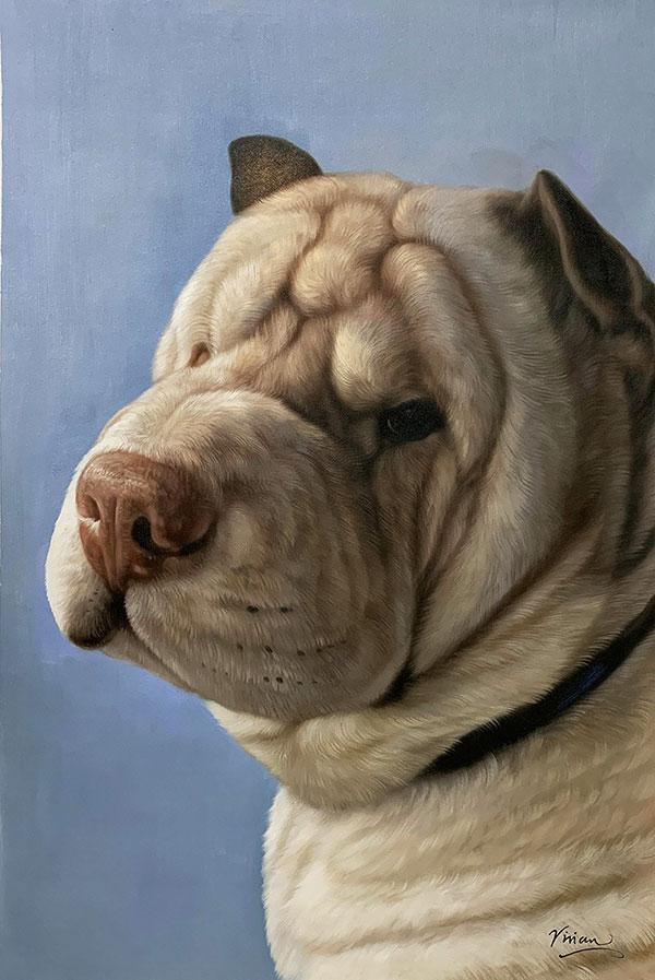 Custom handmade close up oil artwork of a dog