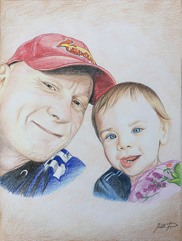 Custom color pencil painting of a grandfather and a baby