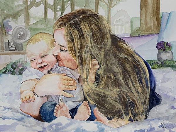 Stunning watercolor painting of a mother and son