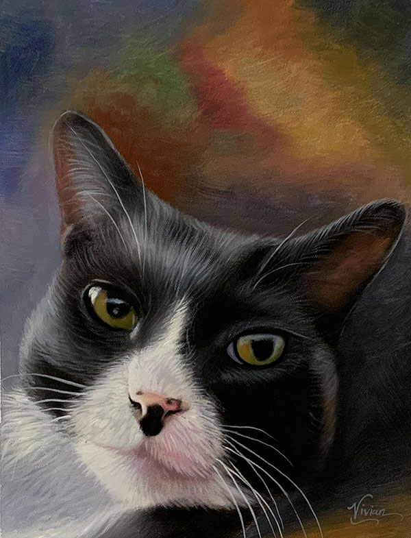 Custom handmade oil painting of a cat