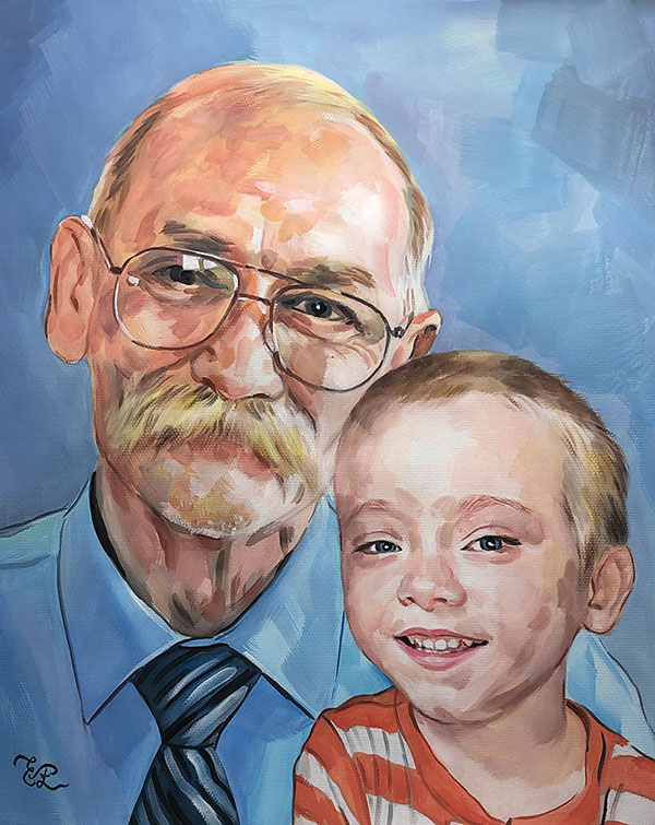 Beautiful pastel painting of a grandfather and a grandson