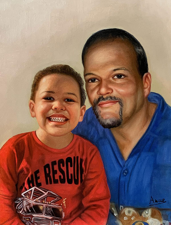 Personalized oil painting of a father and son