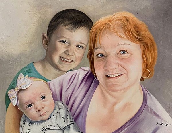 Personalized oil artwork of a grandmother and children