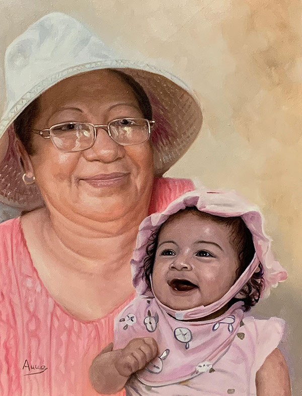 Gorgeous oil painting of a grandmother and a granddaughter