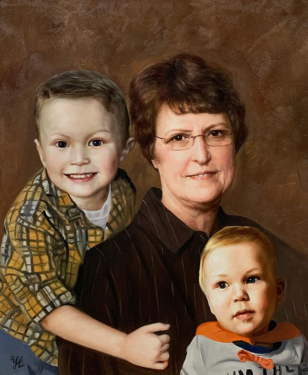 Beautiful oil artwork of a grandmother with two grand kids