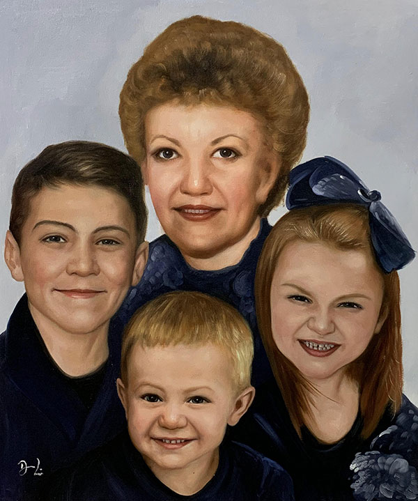 Gorgeous oil painting of a grandmother with kids